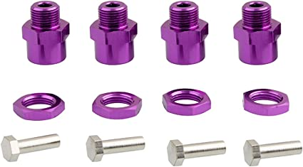 Green LAFEINA 4PCS Aluminum Alloy Wheel Hex Hub 12mm Turn to 17mm Conversion Adapter for 1//10 RC Model Car Convert to use 1//8 Tires Upgrade Parts