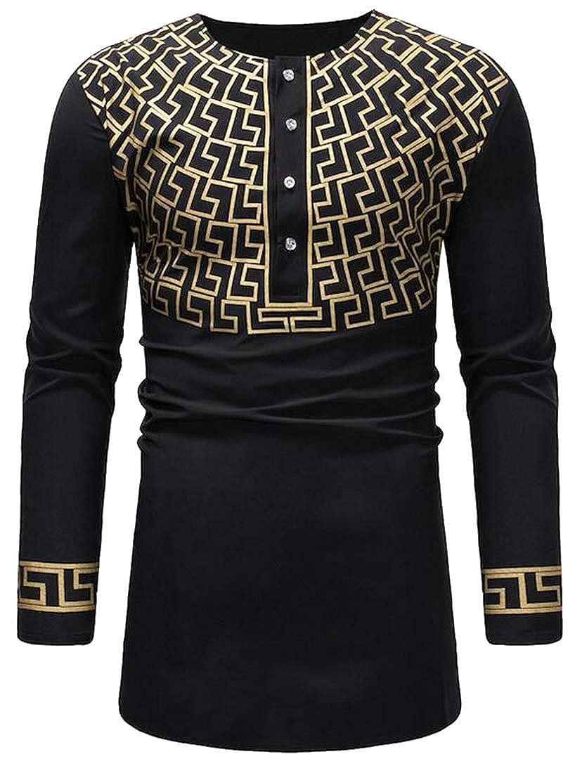 Bloomyma Mens Crew Neck African Fribal Print Retro Longline Long Sleeve Shirt