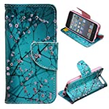 LEECO iPod Touch 5 6th Case,Fashion Synthetic PU Leather Wallet Type Magnet Design Flip Stand Case Cover for Apple iPod Touch 5 6th Generation + Send 1 Stylus Pen(Plum Blossom)