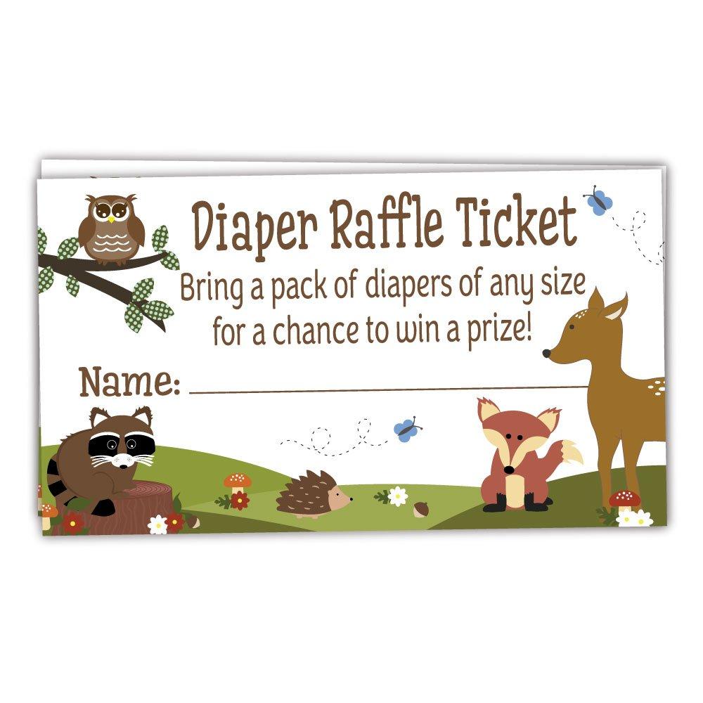 50 Woodland Diaper Raffle Tickets - Boy Baby Shower Game