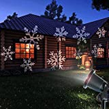 Christmas Lights Outdoor Xmas LED Projector Halloween Decorations Waterproof White Moving Snowflake Landscape for Garden Patio Holiday Party Wedding Decoration and Indoor Use …
