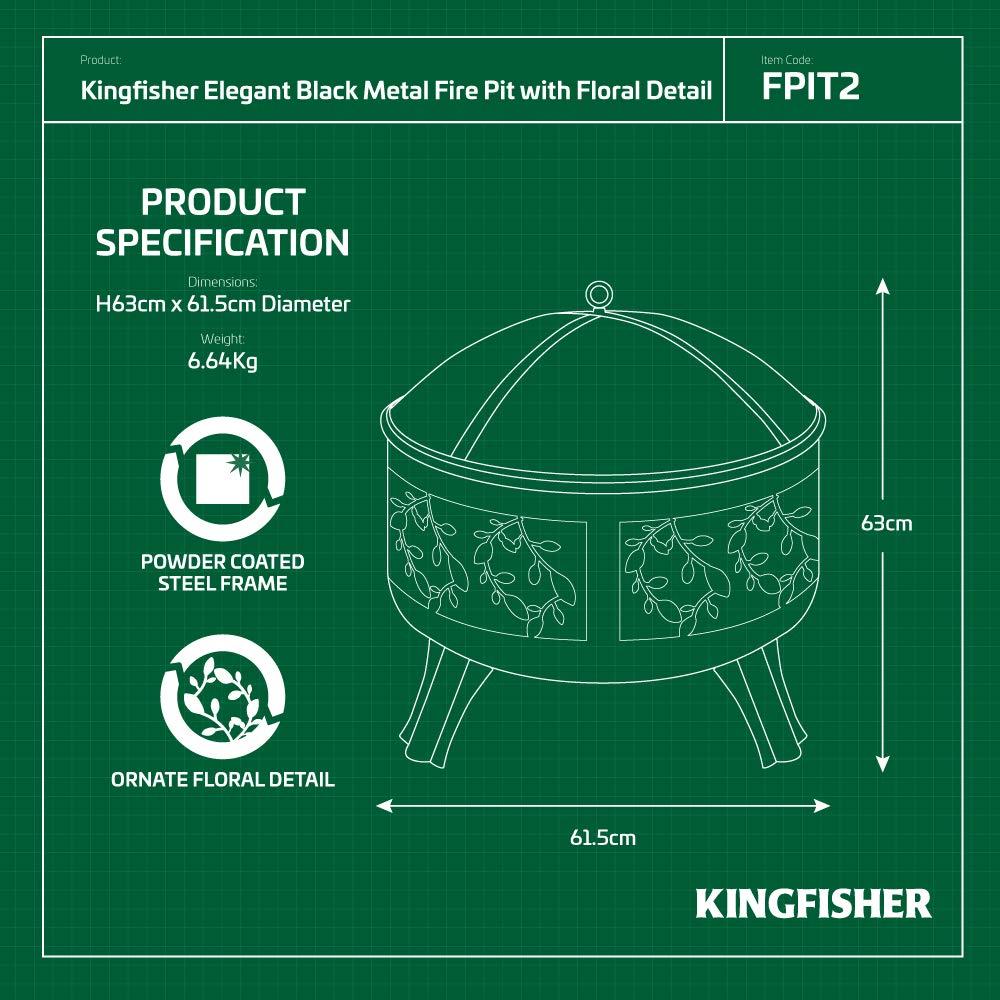 Kingfisher Feuerkorb mit Design an den Seiten Gartenm/öbel