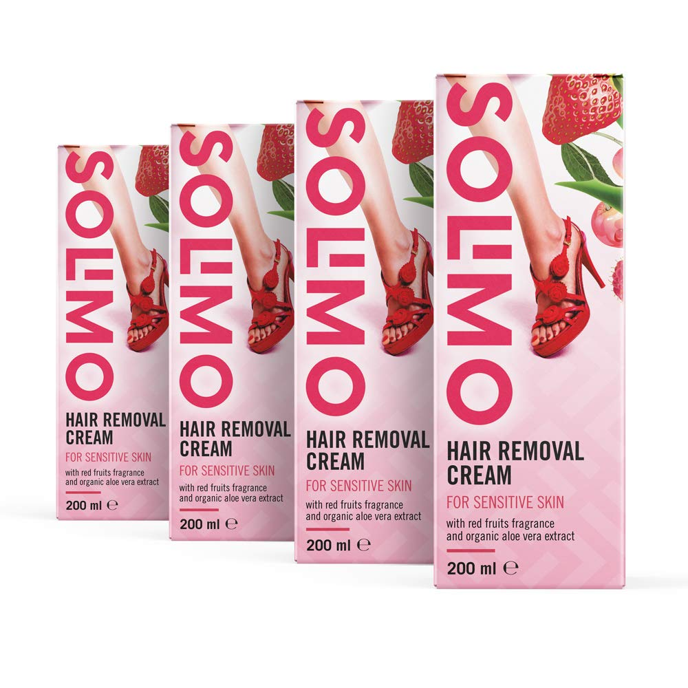 Amazon Brand - Solimo Hair Removal Cream for Sensitive Skin with Red Fruits Fragrance and Organic Aloe Vera Extract (4 x 200 ml)