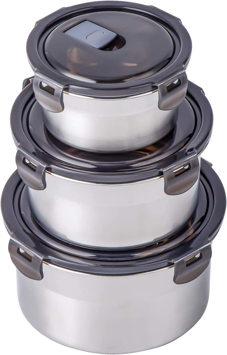 NEWANOVI 18/8 Stainless Steel Lunch Box Food Storage Containers with Lids, Stackable Leak-Proof Metal Container Round Bento Box for Sandwich, Salad, Fruit, Picnic, Camping, Set of 3 Small-Middle-Large