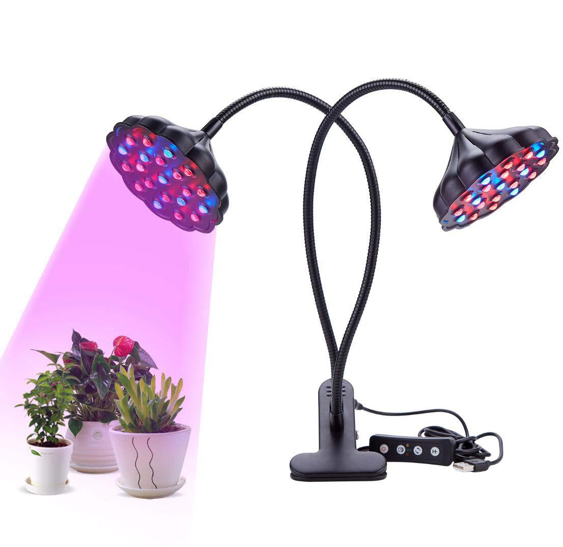 JXJ Lampada di Crescita della Pianta A Doppia Testa con LED 20W - Spettro Completo 28red + 14blu 360 ° Lampada Idroponica A Collo di Cigno Regolabile,nero