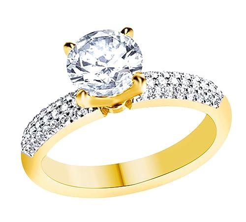 AFFY Anillo de compromiso de oro sólido de 14 quilates con ...