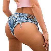 FSSE Womens Low Rise Cutoff Beach Booty Cheeky Mini Denim Shorts Thong Jean Shorts Hot Pants