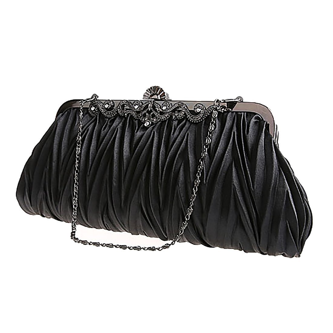 EROUGE Satin Purse Wallet Fashion Ladies Cocktail Evening Handbags Women Elegant Envelope Clutch (Black)