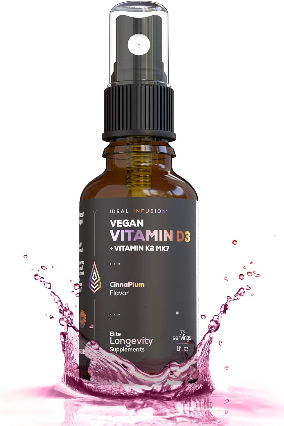 Vegan Vitamin D3 5000 iu with K2 (MK-7) Liquid Spray l Organic Plum with Cinnamon l Bone Health, Immune Support, Bone Structure (75 Servings)