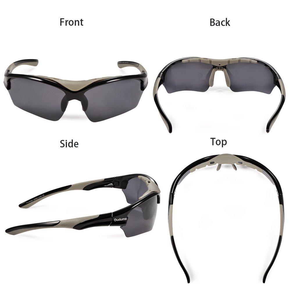 Duduma Gafas de Sol Deportivas Polarizadas Para Esquiar Golf Correr Ciclismo TR628 Súper Liviana Para Hombre y Para Mujer (marco negro con lente negro): ...