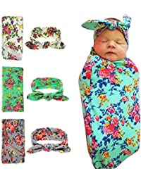 Newborn Baby Swaddle Blanket Headband Value Set,Receiving...
