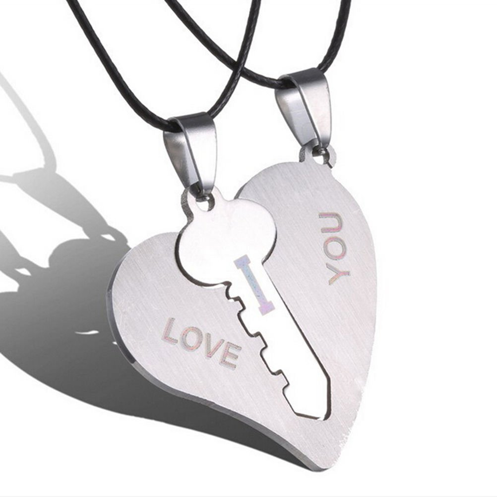 WelcomeShop 1 Pair I Love You Lock Key Heart Stainless Steel Pendant for Couple Necklace
