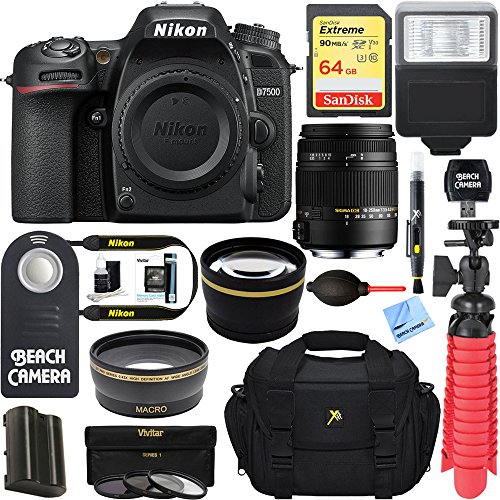 Nikon D7500 20.9MP DX-Format Digital SLR Camera + Sigma 70-300mm Macro Telephoto Lens Tascam Video Creator Bundle (Sigma 18-250mm Accessory Kit) by Nikon