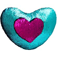 """Mermaid Throw Pillow with Insert , Play Tailor Reversible Sequins Pillow Heart Shape Decorative Cushion(13"""" x 15"""", Teal-Fushia)"""