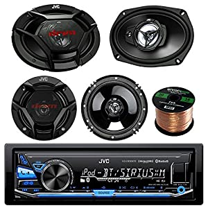 "JVC KDX330BTS Single-DIN AM/FM USB AUX Car Stereo Receiver Bundle Combo With 2x JVC CS-DR6930 6x9"" 3-Way Vehicle Coaxial Speakers + 2x CS-DR620 6.5"" Inch 2-Way Audio Speakers + 50-Ft 16G Speaker Wire"