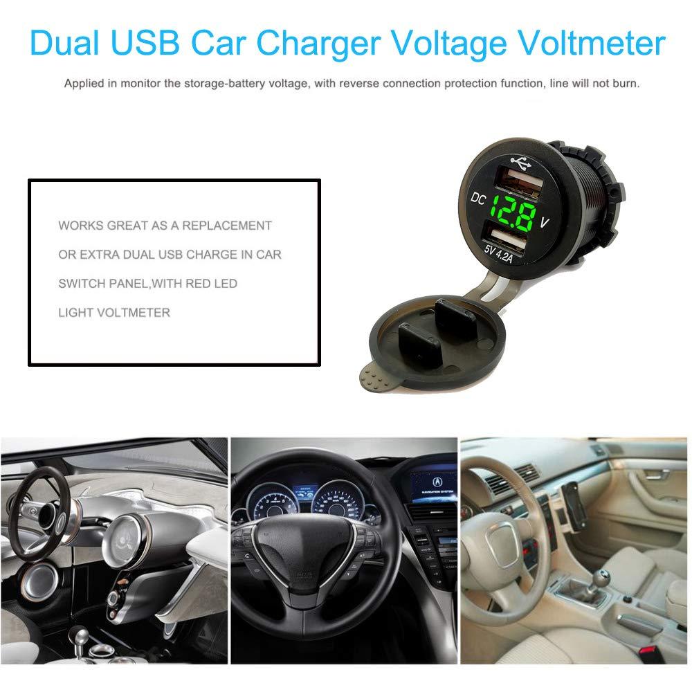 Bleu YGL 4.2A Double Chargeur USB avec Voltm/ètre 12-24V Affichage Num/érique /à LED Universel pour Moto Bateau Voiture