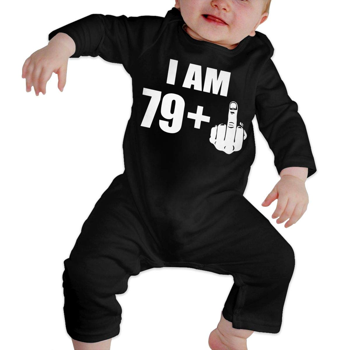 Infant Babys Cotton Long Sleeve I Am 80 Middle Finger 80th Birthday Gift Climb Jumpsuit Funny Romper Clothes