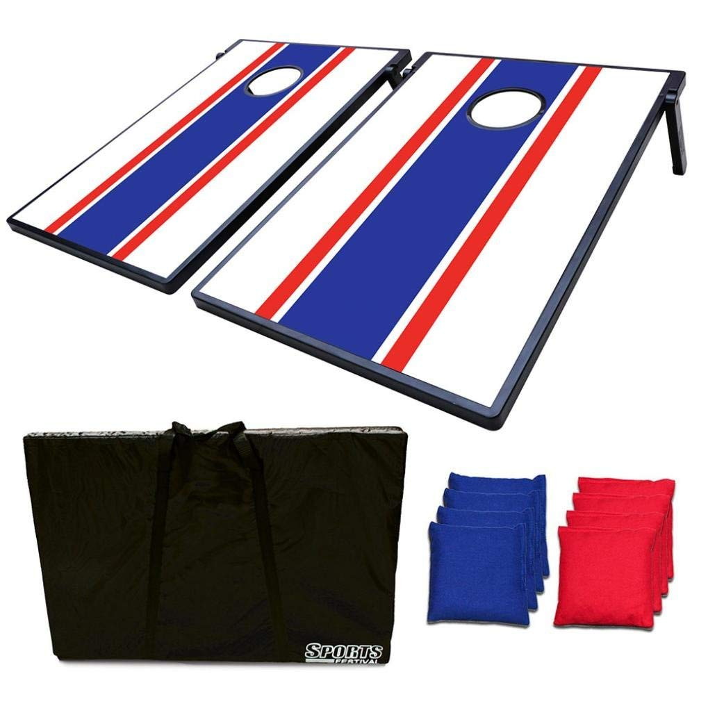 Dreamyth 2-in-1 Cornhole Bean Bag Toss Game and Tic Tac Toe - French Color,American Warehouse Shippment