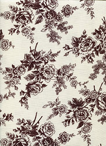 Laura Ashley Cassandra Brown Rose Toile Fabric Tablecloth, 52-by-70 Inch Rectangular Oblong
