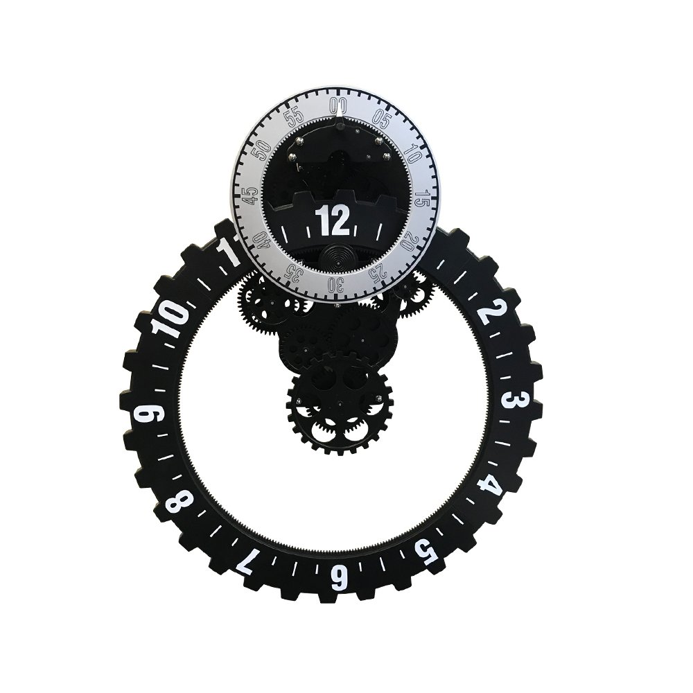 斬新なデザインの壁掛時計!ビッグホイール壁掛けギアクロック【EM-G090-B】 B07C23XHLF
