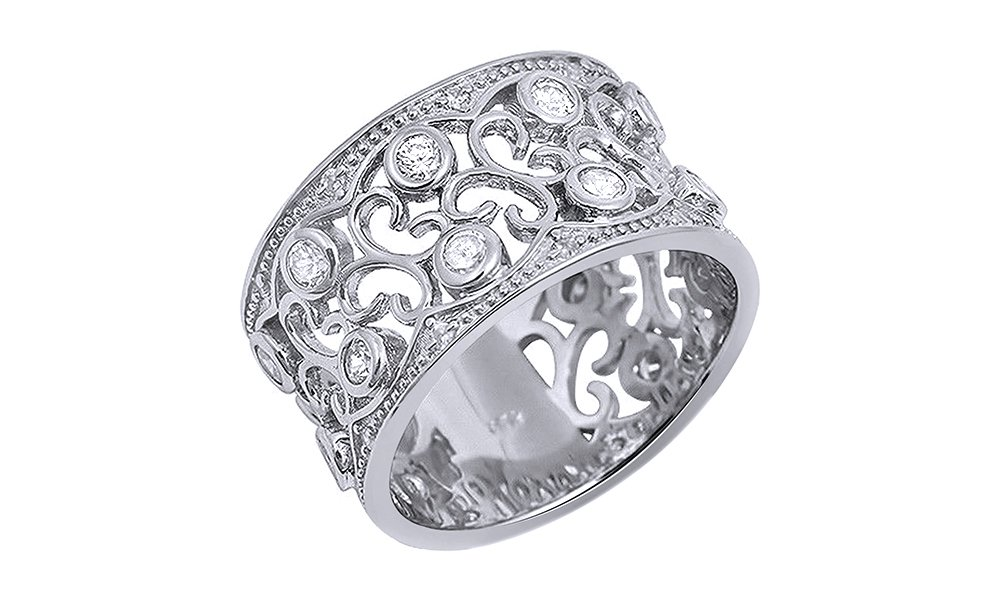 Jewel Zone US White Cubic Zirconia Floral Design Wide Band Ring In 14k White Gold Over Sterling Silver