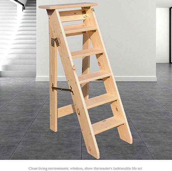 Escaleras de Madera de 6 peldaños Plegables, escaleras de peldaño Resistentes Taburete de Escalera Robusta Escalera con Pedales Anchos, escaleras de Mano para jardín, Color Madera: Amazon.es: Hogar