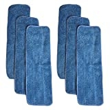 Think Crucial 6 Replacements for Bona Microfiber Cleaning Pads Fits 15-inch Hardwood Floor Mops, Compatible With Part # AX0003053, Washable & Reusable