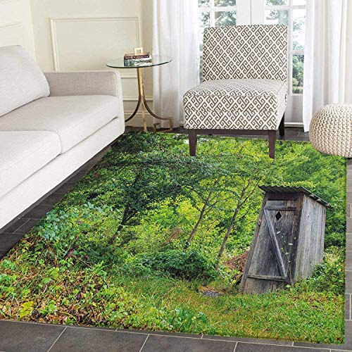 (Outhouse Non Slip Rugs Old Ancient Cottage Outhouse in a Spring Mountian Forest Woods Image Door Mats for Inside Non Slip Backing 5'x6' Fern Green and Brown)