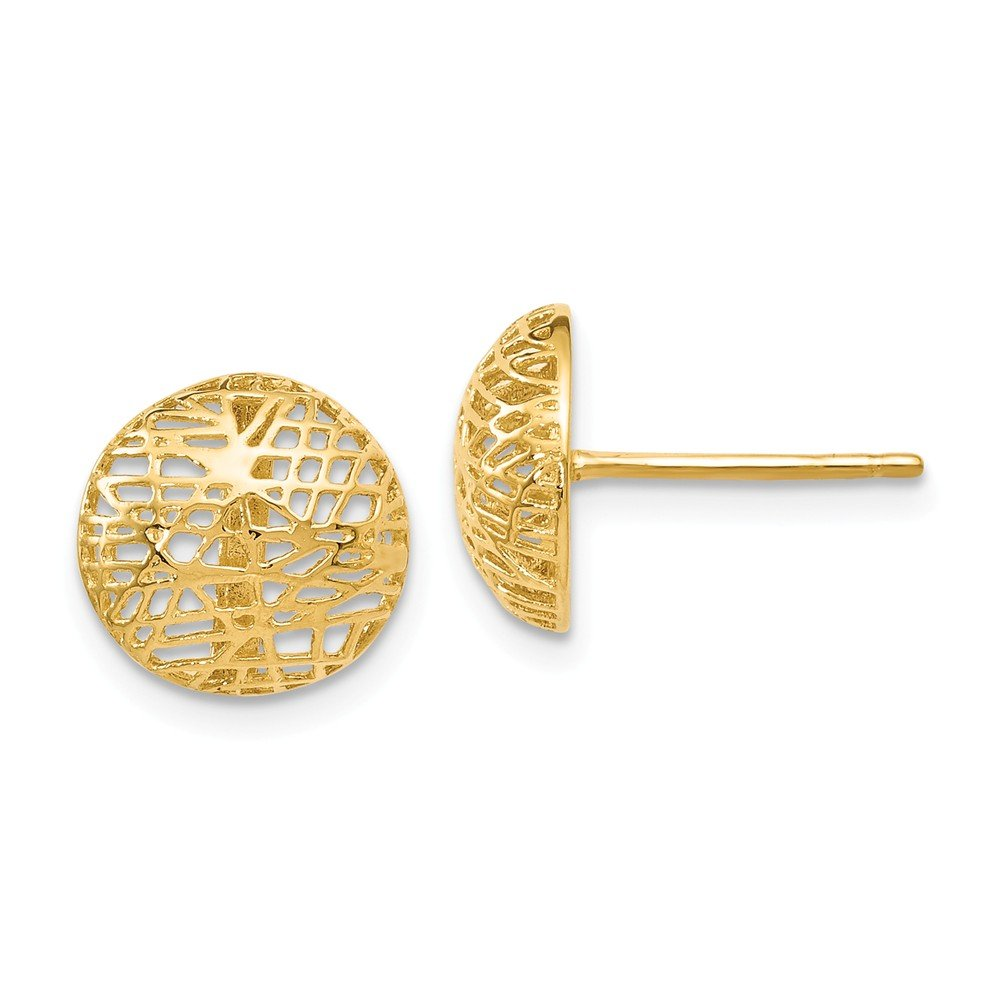 10mm x 10mm Solid 14k Yellow Gold Textured Post Earrings