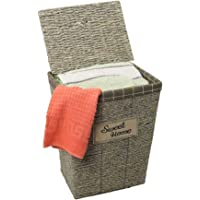 YATAI Woven Cotton Rope Basket Synthetic Rattan Clothes Hamper With Lid, Removable Liner Bag Laundry Hamper Baby Dog Toy…