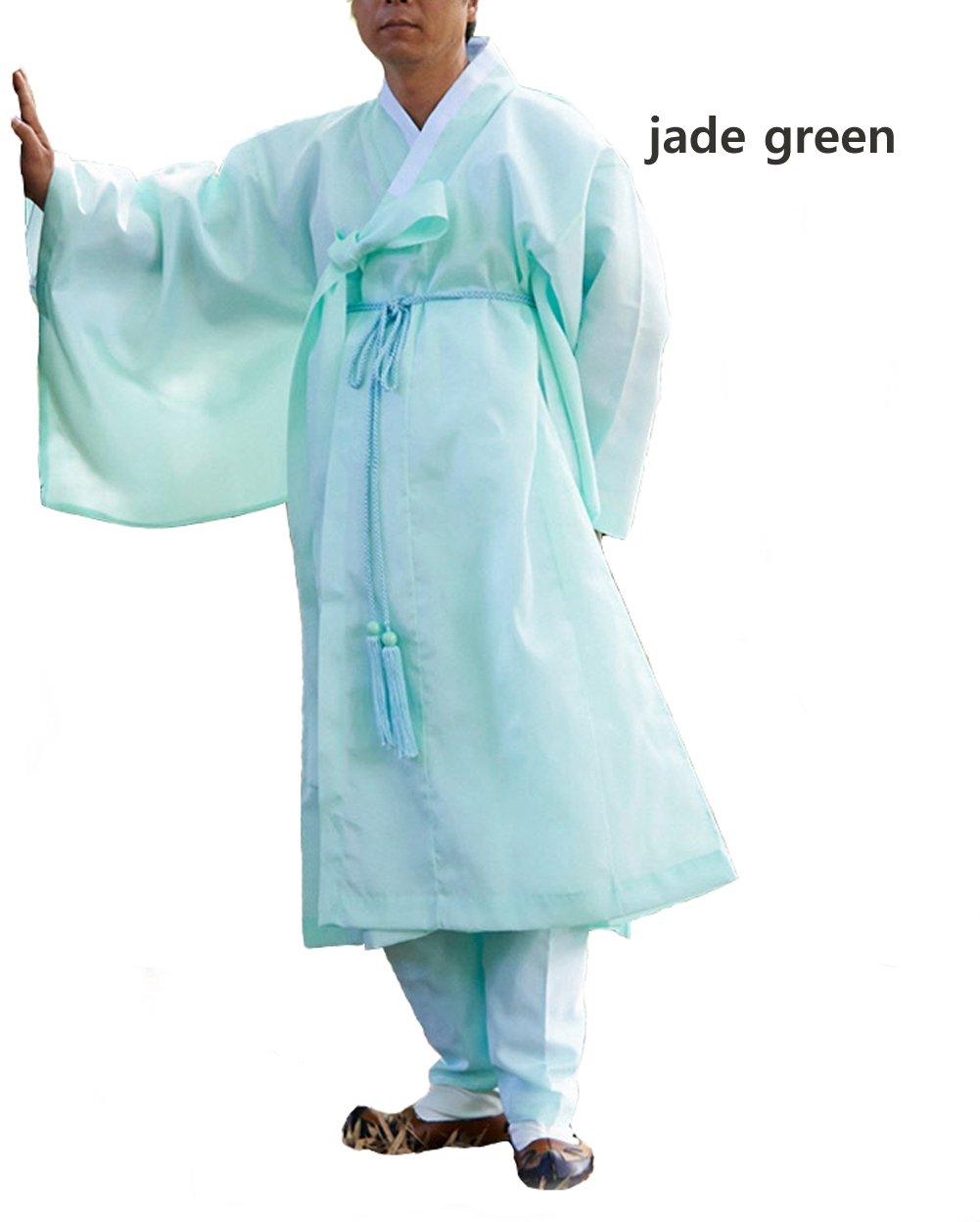 Men Water Silk Robe, Korea Traditional Men Clothing Dopo, Halloween Costumes (jade green, S) by Altair (Image #2)