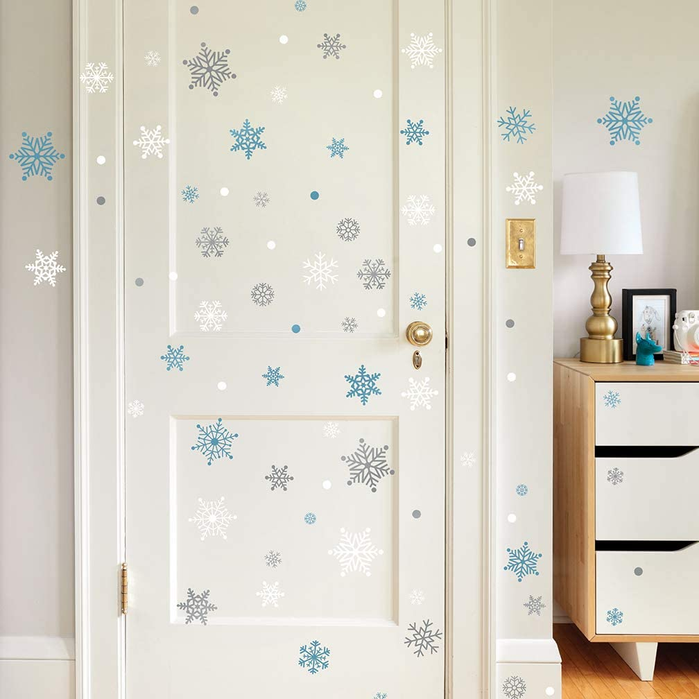 Christmas Silver and Blue Frozen Theme Snowflakes Peel and Stick Wall Decals