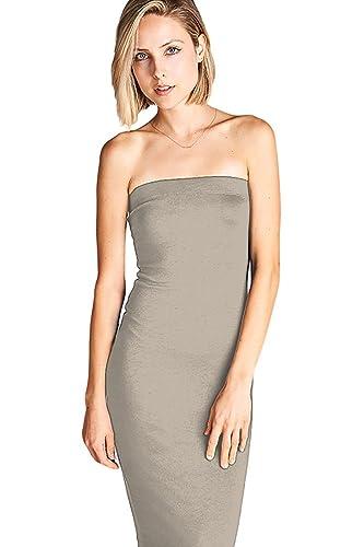 L21 Women's Basic Strapless Bodycon Tube Mini Dress, Taupe, Large