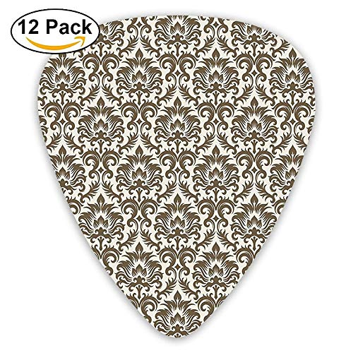- Floral Damask Featuring Scrolled Motifs Antique Victorian Style Print Old Country Guitar Picks 12/Pack Set
