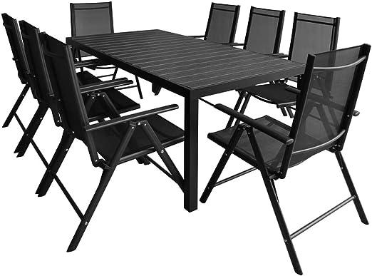 Xinglieu Set de Comedor de Exterior 9 Unidades de Aluminio y WPC Juego de sillas y Mesa de jardín Mesa y sillas de jardín: Amazon.es: Jardín