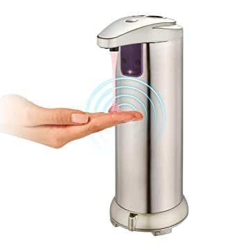 Dispensador de jabón automático, dispensador de jabón de acero inoxidable Touchless con sensor Resistente a huellas dactilares y base impermeable para ...