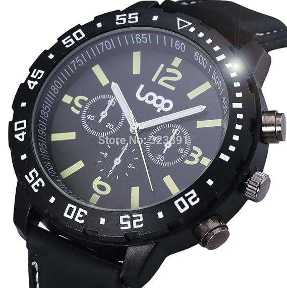 Belleza regalo 2015 nueva moda Loop famosa marca diseño deporte al aire libre hombres relojes militares elegante correa de caucho de regalo macho muñeca ...
