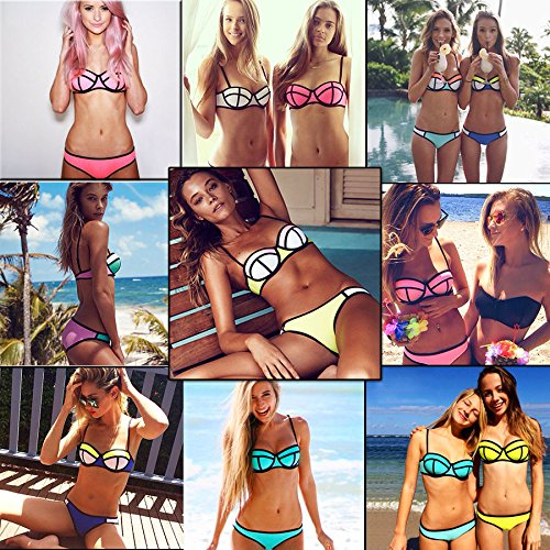 TOPMILL® New Sexy Women's Bikini Set Bandeau Triangle Push-up Bra Swimsuit Beachwear (White&Pink&Orange, L)