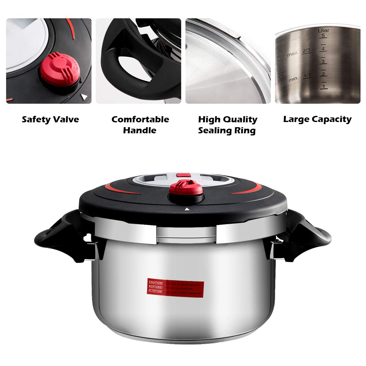 Stainless Steel Pressure Cooker with Side Grips Steamer for Gas Stoves COSTWAY 6L Multifunction Pressure Cooker 2 Working Pressure Anti-Skid Handles Induction Cookers