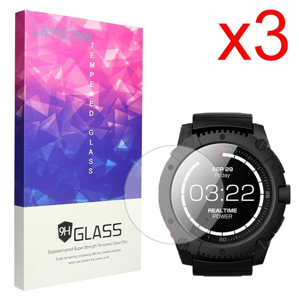 PowerWatch X Screen Protector, Lamshaw 9H Tempered Glass Screen Protector for MATRIX PowerWatch X Smartwatch (3 pack)