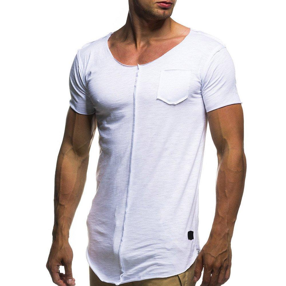 Kirbaez Men's T-Shirt Summer Fashion Short Sleeve Slim Personality Asymmetrical Hem Casual Solid Sport Shirts Top Blouse White