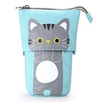 BTSKY Bolsa Escolar para Lápices de Lona Variable con Dibujos Animados de Gato, Estuche de Papelería Bolsa de Almacenamiento para Lápices Pinceles ...