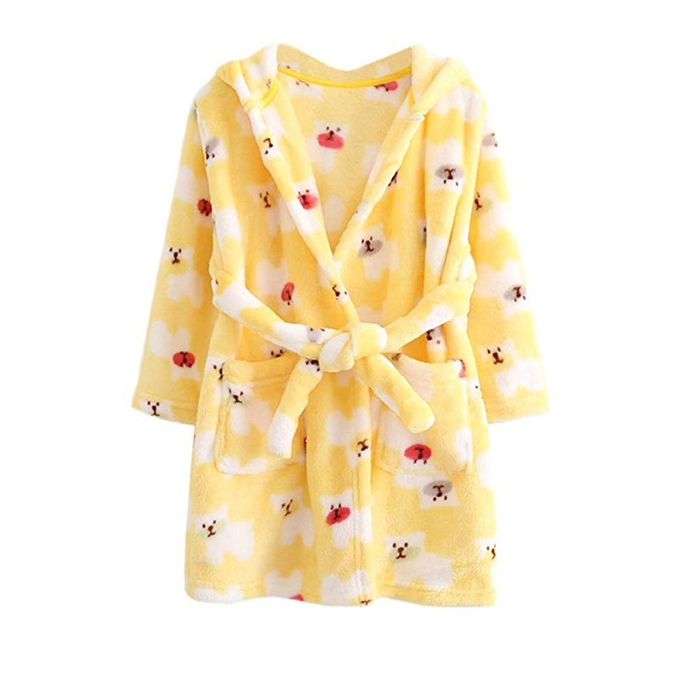 JZLPIN Unisex Baby Hooded Bathrobe Kids Flannel Pajamas Dressing Gown for Boys Girls