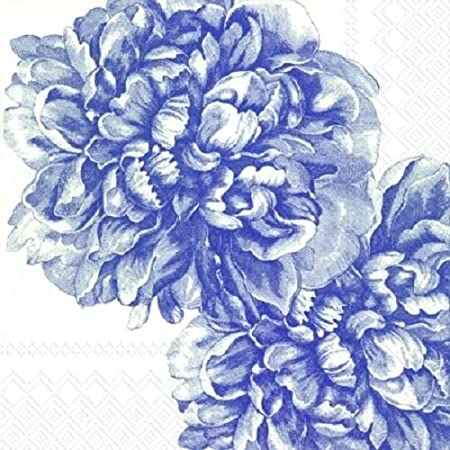 4x Paper Napkins for Decoupage Decopatch Craft Blue Rambling Rose