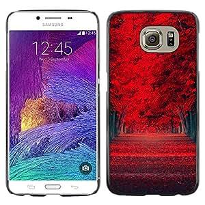 Caucho caso de Shell duro de la cubierta de accesorios de protección BY RAYDREAMMM - Samsung Galaxy S6 - Red de Woods