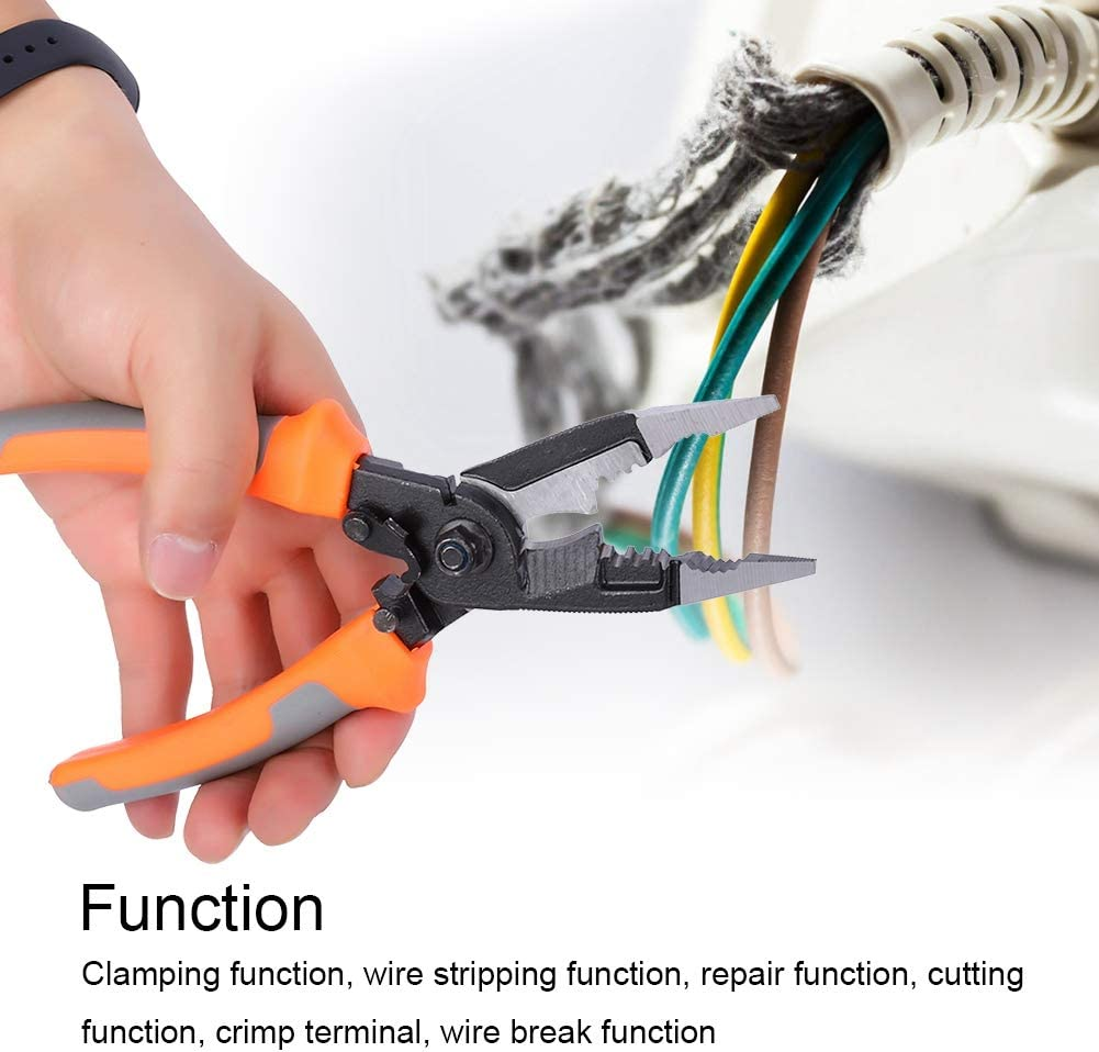 Alicates de punta larga Alicates de 8 pulgadas 6 en 1 Herramientas de electricista multifuncionales