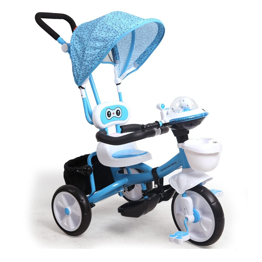 XQ 子供赤ちゃん多機能オックスフォード布1-6歳の三輪車の自転車トロリー 青 子ども用自転車 B07C6D3241