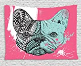 Ambesonne Modern Tapestry, French Bulldog Split with Embellished Ethnic and Paintbrush Artwork, Wall Hanging for Bedroom Living Room Dorm, 60WX40L inches, Pink Seafoam Black White
