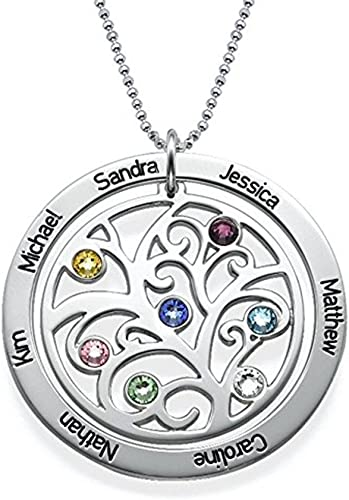 Pendant Necklace Family Tree Personalized Birthstones Gift Charm Jewelry Name