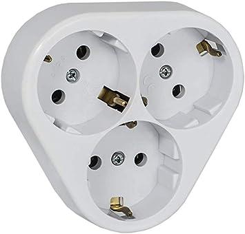 Toma de corriente con 3 enchufes empotrados (protección IP20): Amazon.es: Bricolaje y herramientas
